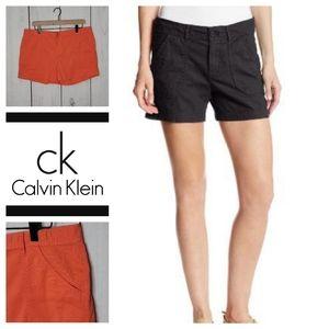 Calvin Klein Jeans Flat Front Shorts Orange 14 NWT